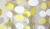 Circle Dots Hanging Decoration String Paper Garland (3m Long) Wedding Birthday Party Baby Shower Table Decoration- yellow & white