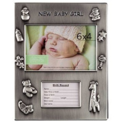 15cm x 10cm Silver Baby Girl Birth Record Photo Album From TheCraftyCrocodile