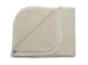 LANACare Organic Merino Wool Baby Blanket, Natural White with Lace Edge