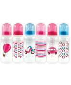 Nurtria 6-Pack Baby Bottles with Organiser - pink/blue, one size