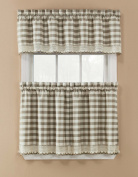 Window Accents Norwalk Plaid Tier and Valance Set, 150cm by 90cm , Sand