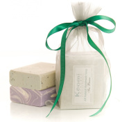 ORGANIC HANDMADE SOAP GIFT SET - ALL NATURAL - Scented w/ Pure Aromatherapy Grade Essential Oils - 2 Full Size Bars (Sea Breeze & Luscious Lavender) Comes Packaged in a Lovely Organza Bag