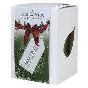 Aroma Naturals Evergreen Holiday Soy Essential Oil Square Glass Candle, Juniper Spruce and Basil, 200ml