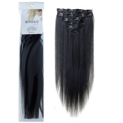 Emosa 7Pcs 70g 100% Real Full Head Remy Human Hair Clip In Extensions #1 Jet Black Silky Soft