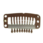 Clip for hair extension, snap clip for DIY use, brown 20pcs