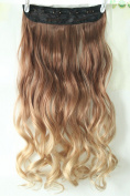 Dip Dye Clip in on Ombre Hair Extensions Synthetic Straight Curly Wavy Gift