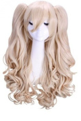 L-email 65cm Long Blonde Anime 2 Clip on Ponytails Curly Cosplay Wig+ 2 Clip Cw112