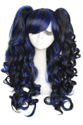 L-email™ 60cm/ Pretty Women Long Black Blend Blue Wave Cosplay Full Wigszy67a