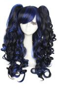 L-email™ 60cm/ Pretty Women Long Black Blend Blue Wave Cosplay Full Wigszy67a