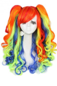 L-email Long Lolita Ponytails Wavy Cosplay Wig Multicolor