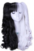 L-email 50-60cm Black & white Long Lolita Clip on Ponytails Wavy Cosplay Hair Wig C22-a