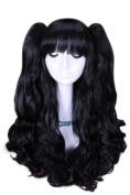 60cm Long Lolita Black Clip on Ponytails Cosplay Hair Wig Rw137black