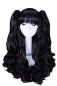L-email 50cm Long Black Lolita Clip on Ponytails Cosplay Hair Wig Rw137
