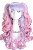 L-email Lolita New Long Powerblue Curly Ponytails Cosplay Party Wig Cb21