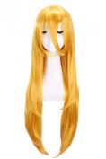 L-email Long Yellow Lily Vocaloid+my Little Pony Straight Cosplay Wig Rw97+red Ribbon