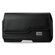 Reiko Horizontal Z Lid Leather Pouch for Samsung Galaxy S5 Plus - Retail Packaging - Black