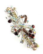 Women's Rhinestone Metal Hair Barrette Clip Hair Pin Antique Silver IMB2146