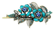 Kobwa(TM) Bronze/Light Blue Retro Charm With Leaves Rose Flowers Alligator Clip/Hair Clip With Keyring