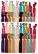 """Hair Ties Ponytail Holders """"Solid Assortment"""" (Available in Lots of Pack Quantities) No Crease Ouchless Stretchy Elastic Styling Accessories Pony Tail Holder Ribbon Bands - By Kenz Laurenz"""