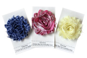 Shabby Chic Flower Hair Clips, Set of Three, Over 20 Colours (Metallic Pink/Soft Yellow/Quatrefoil Blue); Easter Spring Sale