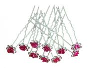 Shop Ginger Wedding Pack of 10 Rose Flower Crystal Rhinestones Hair Pins Bridal Veil