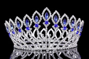 Pageant Beauty Contest Bridal Wedding Full Crown - Silver Plated Blue Crystals T1021