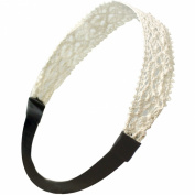 Princess Floral Lace Elastic Headband Set - Cream