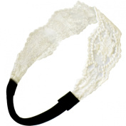 Princess Floral Lace Elastic Headband Set - Black and White