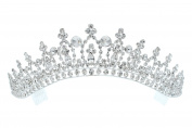Rhinestone Crystal Bridal Wedding Pageant Princess Tiara Crown - Clear Crystals Silver Plating