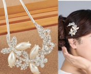 JYE Bridal Hair Accessory White Pearl Flower Leaves Bling Rhinestone Decorative Hair Comb Pin Stick for Long Hair