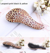 Moresoo Glide Thru Detangling Brush for Ultimate Results - Adults Brush & Kids Brush - Use As Comb or Hair Brush - Leopard-print Black & Yellow