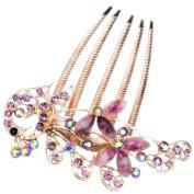 eFuture(TM) Antique Elegant Bronze Rhinestone Peacock Hair Clip Tuck Comb (Purple) +eFuture's nice Keyring