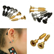 1Pair Fashion Punk Unisex Stainless Steel Ear Studs Nail Whole Screw Earrings