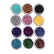 ieasysexy 12 Colours Nail Art Make Up Body Glitter Shimmer Dust Powder nail polish powder Decoration