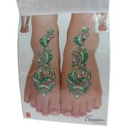 Indian Fashion Art Bollywood Feet Tattoo Sparkling Rhinestone Stick-On Reuseable Bindi