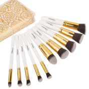 Makeup Brush Set (10pcs) by Soobest , Contains 10pcs Cosmetic Power Kabuki Brushes & Applicators with Luxury Carry Bag for Portability -Professional Grade Ultra Soft & Tested Synthetic Bristles Adapt to Any Type of Makeups, Perfect Gift Idea