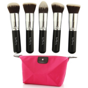 Premium Makeup Brush Set Synthetic Kabuki Brushes - 5pcs Collection Kit - Flat Top Foundations, Tapered Concealers, Cheek Blush, Bronzer, Mineral Powders Applicators - FREE Travel Pouch - High Quality Vegan Cosmetic Face Brushes - Synthetic Bristles - ..