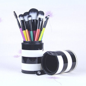 KINGLAKE® 10PCS Professional Makeup Brush Set Cosmetic Brush Kit Makeup Tool with Cup PU Leather Holder Case with Lovely Black & White Stripe Pattern Brush Holder