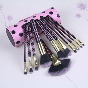 KINGLAKE® 11 PCS Professional Makeup Brush Set Cosmetic Brush Kit Makeup Tool with Cup PU Leather Holder Case with Lovely Pink Dot Pattern Brush Holder