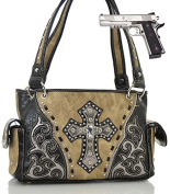 Rhinestone Cross Studded Concealed Handgun Shoulder Bag