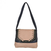 Just Cavalli Women's 100% Calf Leather Navy/Pink Matel Beads Decorated Shoulder Bag