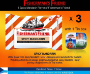 Fisherman's Friend Lozenges Spicy Mandarin Flavour Not Found in Fisherman's Friend U.S. (3 Flavours of Pack with 1 Mini Tin Boxes) Good Taste with Effective for Extra Strong Cough Suppressant Lozenges and Tin Box Collectibles Set
