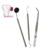 icarekit (TM) 3pcs Basic Dental Instruments Set Mirror Explorer C. plier