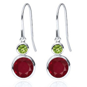 2.34 Ct Round Red Ruby Green Peridot 925 Sterling Silver Earrings