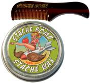 Apple Stache Bomb Stache Wax- Moustache Comb and Moustache Wax Set