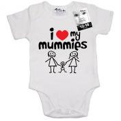 Dirty Fingers, I love heart my Mummies, Baby Boy Girl Bodysuit