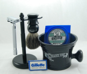 Colonol Conk Shave Kit - Safety Razor, Bowl, Badger Brush, Shave Soap, Stand, and Extra Blades - Black Edition