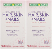 Nature's Bounty Extra Strength Hair Skin Nails, 300 Softgels