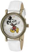 Women's Disney Mickey Mouse Antique Vintage Articulating Watch with Alloy Case - White/Gold