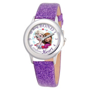 "Girl's Disney® Frozen Anna and Elsa ""Strong Bond, Strong Heart"" Watch - Purple"